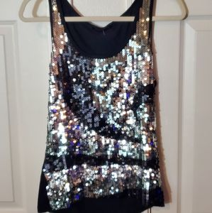 Black Tank with Silver Sequin Swirl Pattern